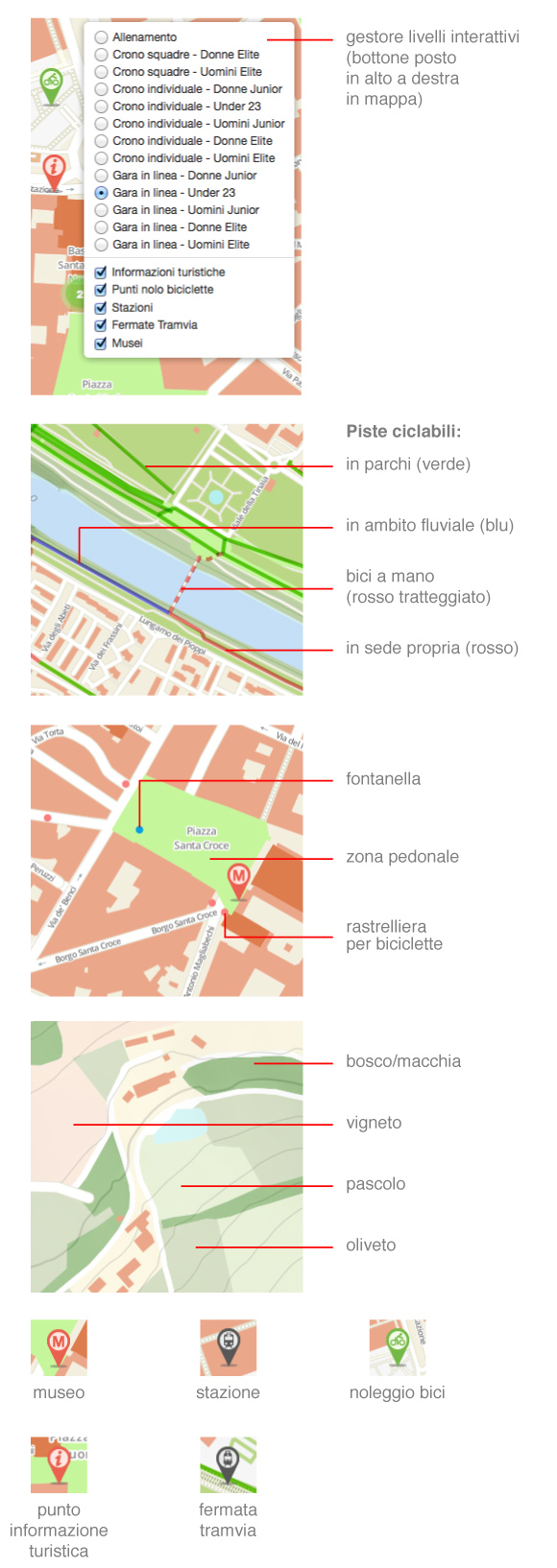 legenda mappa firenze in bicicletta